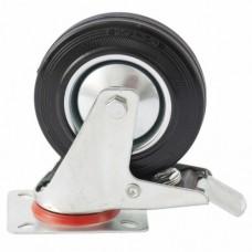 Колесо поворотное с тормозом d-200мм, крепление платформенное   СИБРТЕХ