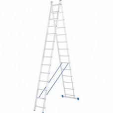 Лестница двухсекционная алюминиевая СИБРТЕХ   2 х 14 ступеней