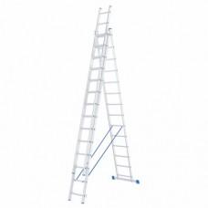 Лестница трехсекционная алюминиевая СИБРТЕХ  3 х 14 ступеней