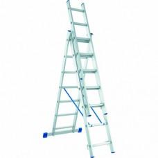 Лестница трехсекционная алюминиевая СИБРТЕХ  3 х 6 ступеней