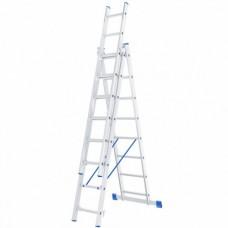 Лестница трехсекционная алюминиевая СИБРТЕХ  3 х 8 ступеней