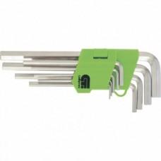 Набор ключей имбусовых HEX, 1, 5–10 мм, 45x, закаленные,  9 шт., удлиненные ,  никель.  Сибртех