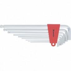 Набор ключей имбусовых HEX, 1, 5–10 мм, CrV,  9 шт., экстра-длин, c шаром, сатин.  MATRIX