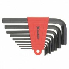 Набор ключей имбусовых HEX, 1, 5–10 мм, CrV,  9 шт., оксидированные, короткие,   MATRIX