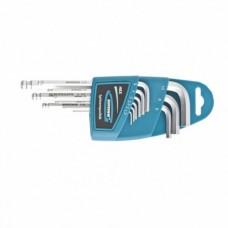 Набор ключей имбусовых HEX, 1, 5–10 мм, S2, 9 шт.,  удлиненные с шаром, сатинированные  Gross