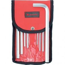 Набор ключей имбусовых HEX, 1, 5–12 мм, CrV, 10 шт., удлиненные, сатин., чехол Matrix