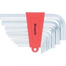 Набор ключей имбусовых HEX, 2–12 мм, CrV,  9 шт., короткие,  сатин.  MATRIX