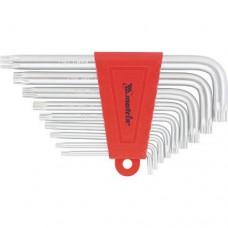 Набор ключей имбусовых TORX, 9 шт: T10-T50,  CrV, короткие, сатин.  MATRIX