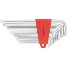 Набор ключей имбусовых TORX, 9 шт: T10-T50,  CrV, удлиненные, сатин.  MATRIX