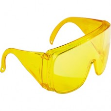 Очки защитные открытого типа, желтые, ударопрочный поликарбонат СибрТех 89157
