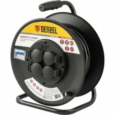 Удлинитель силовой на стальной катушке, ПВС 3х2,5 мм, 20м, 4 розетки, 16А, тип УХз16  Denzel