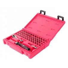 Набор бит c мини-трещоткой и отверткой с храповым механизмом 55 предметов в кейсе JTC