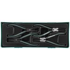 """AG010002SP Универсальный набор щипцов для стопорных колец """"разжим и сжим"""" 7"""", 4 предмета (ложемент)"""