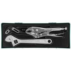 """P2803SP Набор разводной ключ, ручные тиски """"струбцина"""" и клещи переставные с коробчатым захватом в ложементе, 3 предмета"""