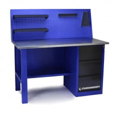 Стол для слесарных работ 1400 мм однотумбовый с 3-мя ящиками с экраном