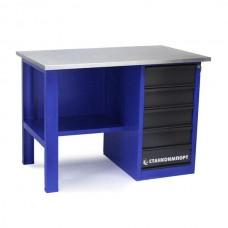Стол для слесарных работ 1200 мм однотумбовый с 5-мя ящиками без экрана