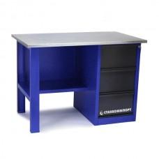 Стол для слесарных работ 1200 мм однотумбовый с 3-мя ящиками без экрана