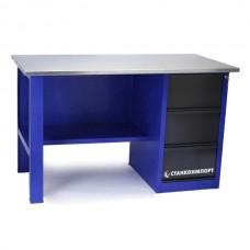 Стол для слесарных работ 1400 мм однотумбовый с 3-мя ящиками без экрана