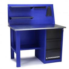 Стол для слесарных работ 1200 мм однотумбовый с 3-мя ящиками с экраном